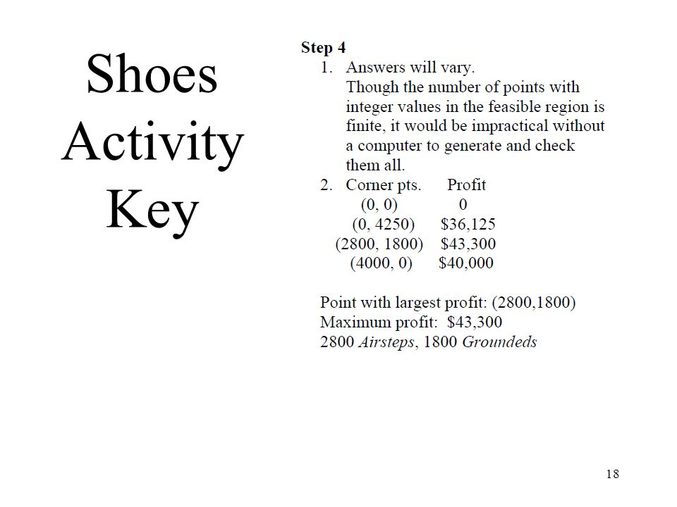 18 Shoes Activity Key