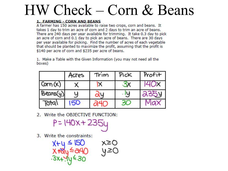 HW Check – Corn & Beans