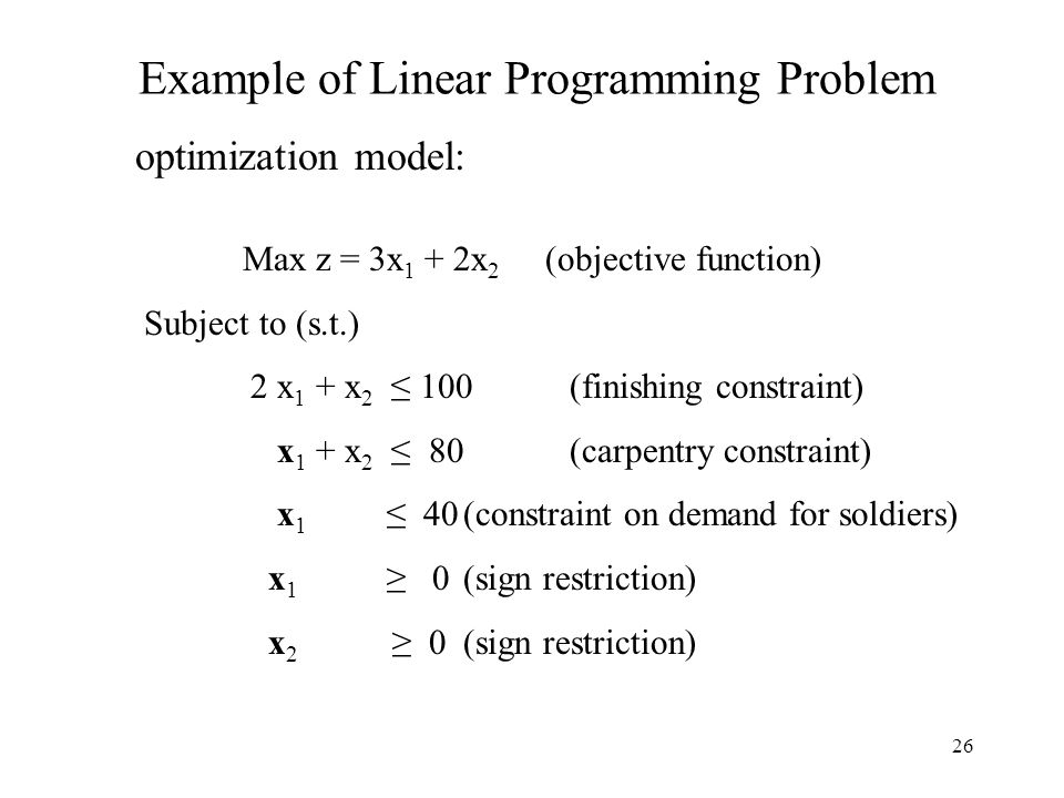 26 Example of Linear Programming Problem optimization model: Max z = 3x 1 + 2x 2 (objective function) Subject to (s.t.) 2 x 1 + x 2 ≤ 100(finishing co