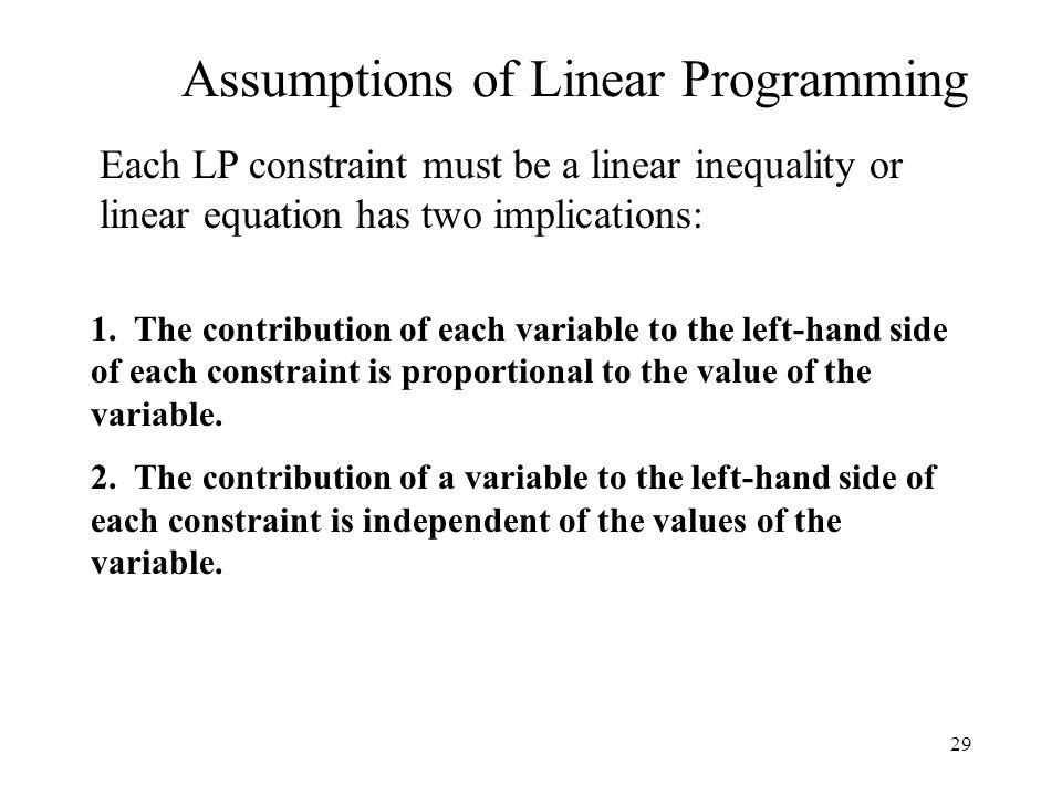 29 Assumptions of Linear Programming 1.