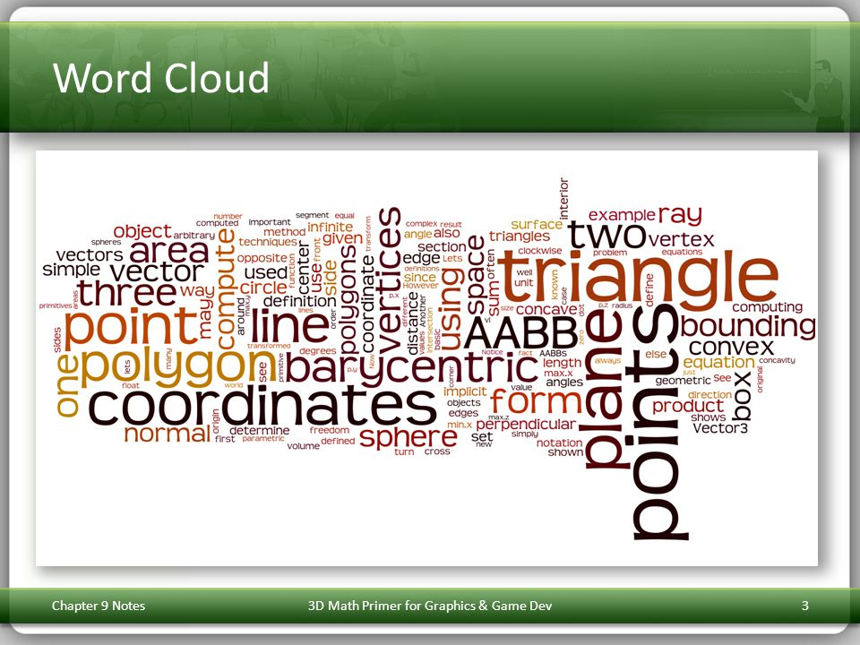 Word Cloud Chapter 9 Notes3D Math Primer for Graphics & Game Dev3
