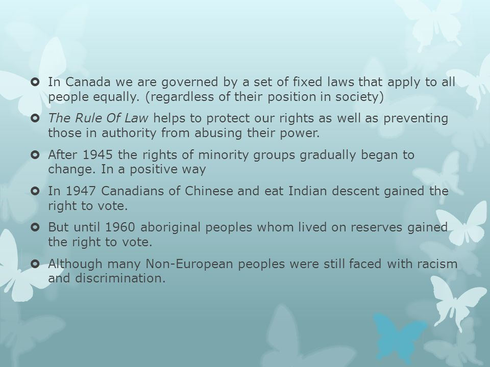 The Canadian Bill Of Rights  John Diefenbaker made the passing of the bill of rights priority.