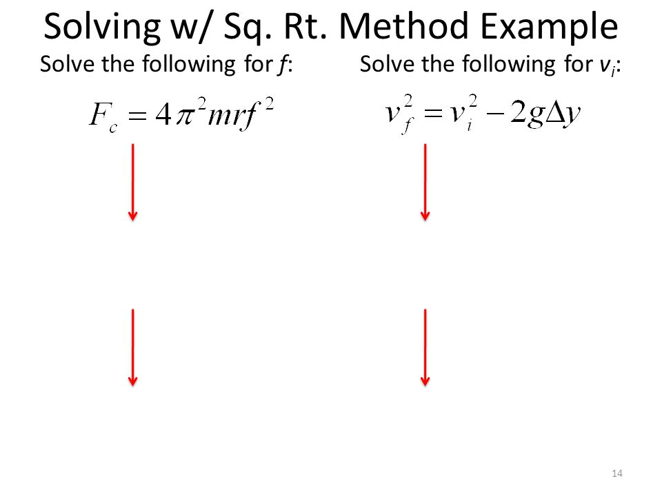 Solving w/ Sq. Rt. Method Example Solve the following for f: 14 Solve the following for v i :