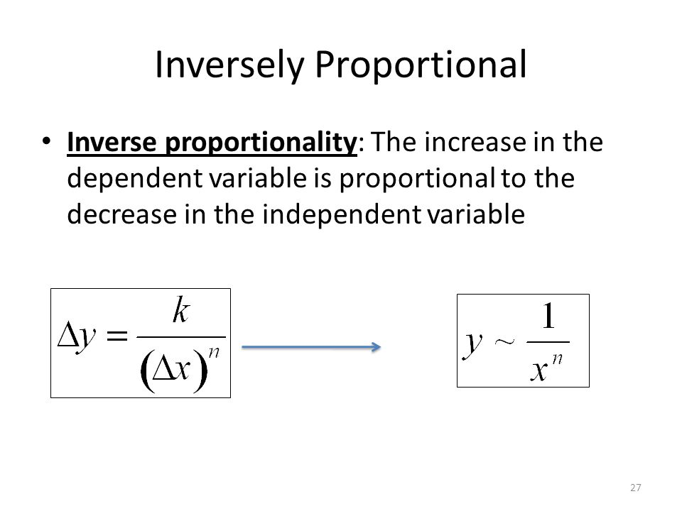 Inversely Proportional 27 Inverse proportionality: The increase in the dependent variable is proportional to the decrease in the independent variable