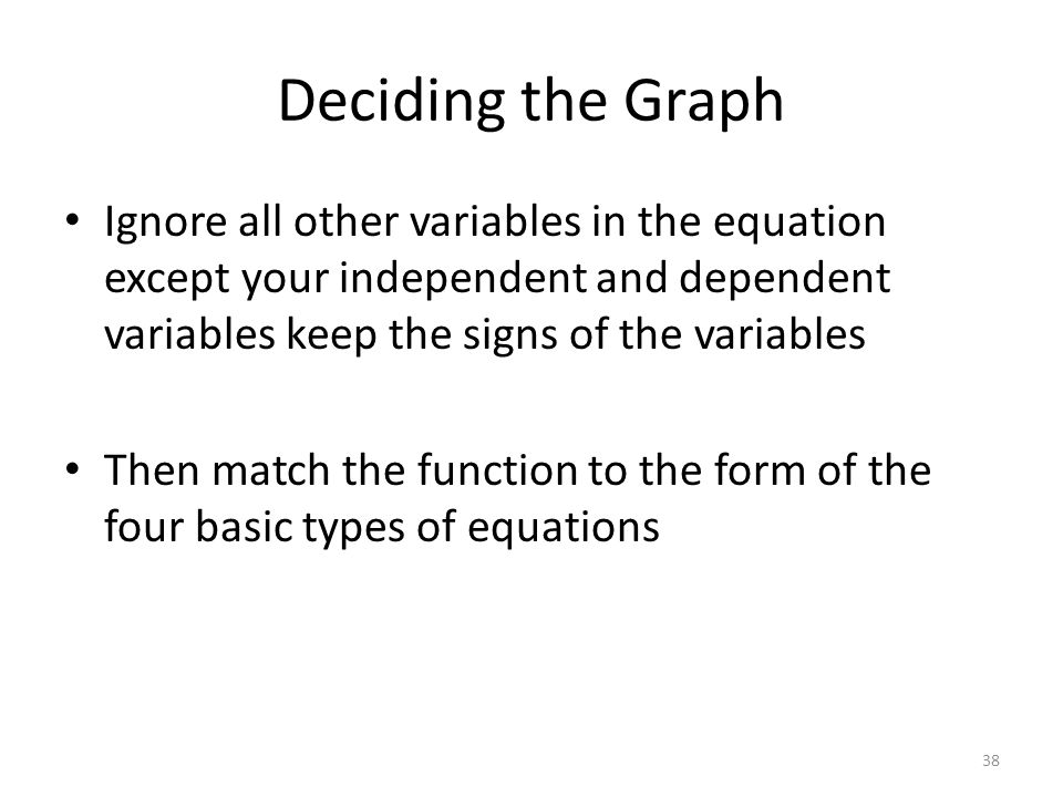 Deciding the Graph Ignore all other variables in the equation except your independent and dependent variables keep the signs of the variables Then match the function to the form of the four basic types of equations 38