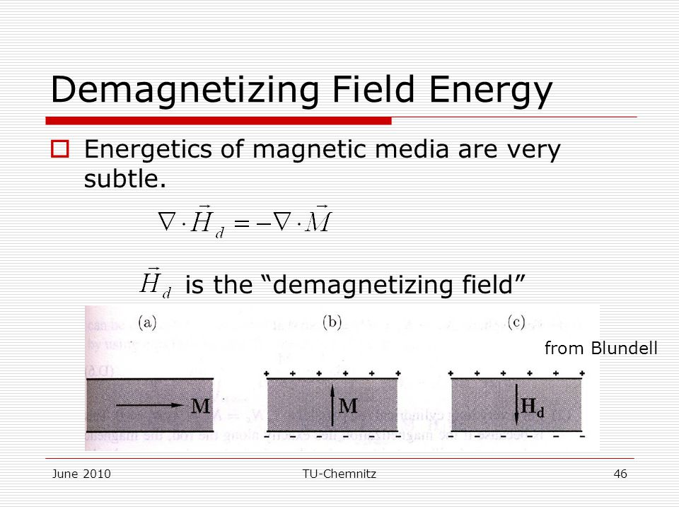 """June 2010TU-Chemnitz46 Demagnetizing Field Energy  Energetics of magnetic media are very subtle. is the """"demagnetizing field"""" from Blundell"""