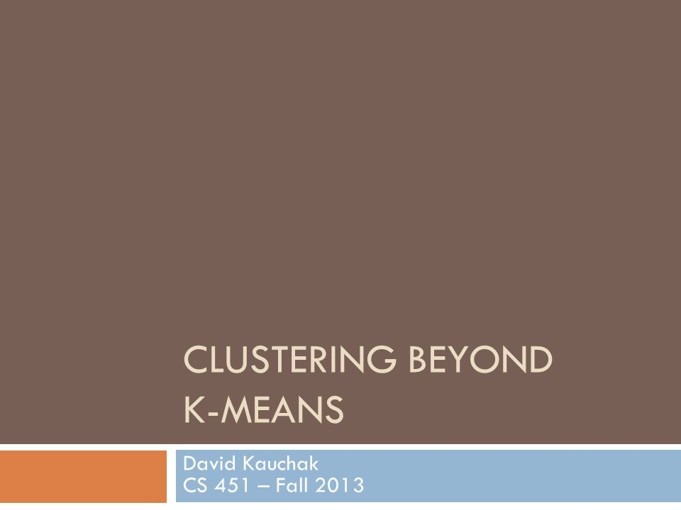 EM clustering Very similar at a high-level to K-means Iterate between assigning points and recalculating cluster centers Two main differences between K-means and EM clustering: 1.