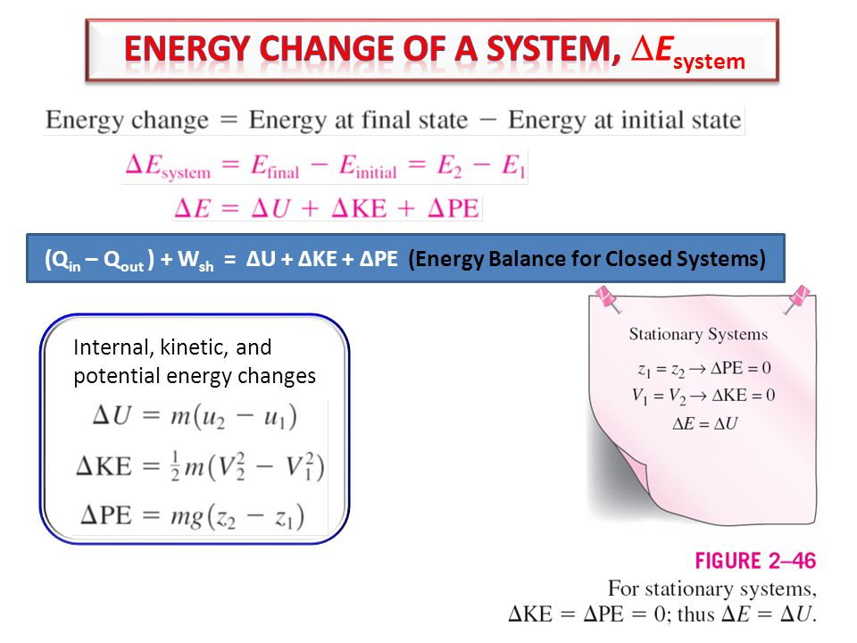 light 15 Internal, kinetic, and potential energy changes (Q in – Q out ) + W sh = ∆U + ∆KE + ∆PE (Energy Balance for Closed Systems)