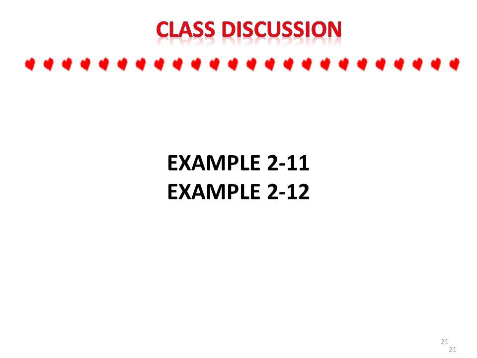 21 EXAMPLE 2-11 EXAMPLE 2-12 21