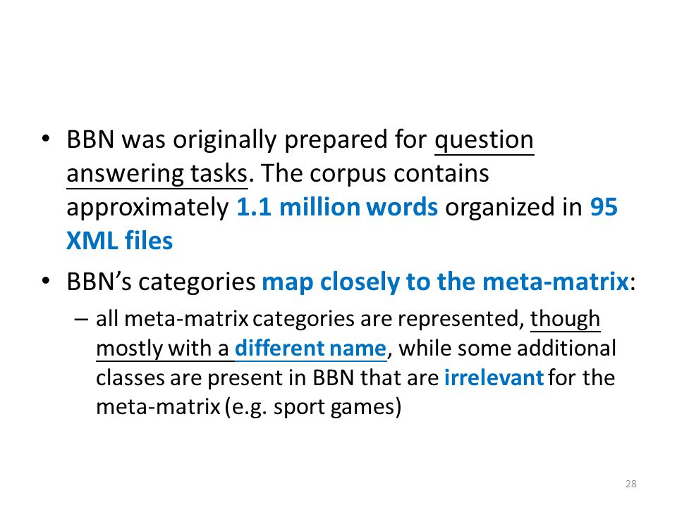 BBN was originally prepared for question answering tasks.