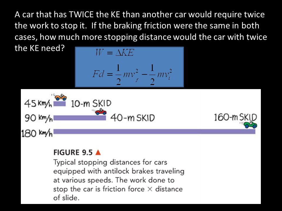 A car that has TWICE the KE than another car would require twice the work to stop it.