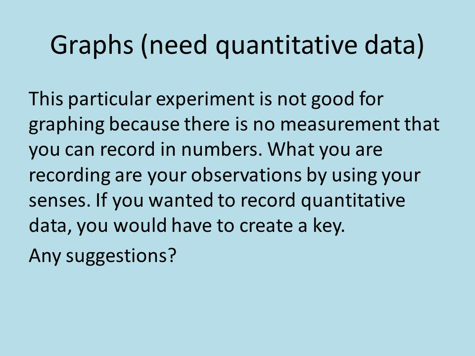 Graphs (need quantitative data) This particular experiment is not good for graphing because there is no measurement that you can record in numbers. Wh