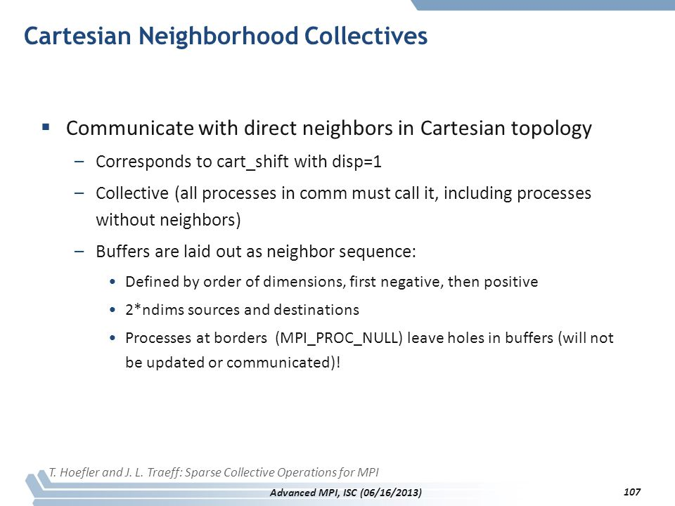Cartesian Neighborhood Collectives  Communicate with direct neighbors in Cartesian topology –Corresponds to cart_shift with disp=1 –Collective (all p