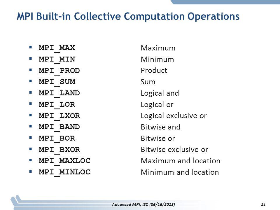 MPI Built-in Collective Computation Operations  MPI_MAX  MPI_MIN  MPI_PROD  MPI_SUM  MPI_LAND  MPI_LOR  MPI_LXOR  MPI_BAND  MPI_BOR  MPI_BXO