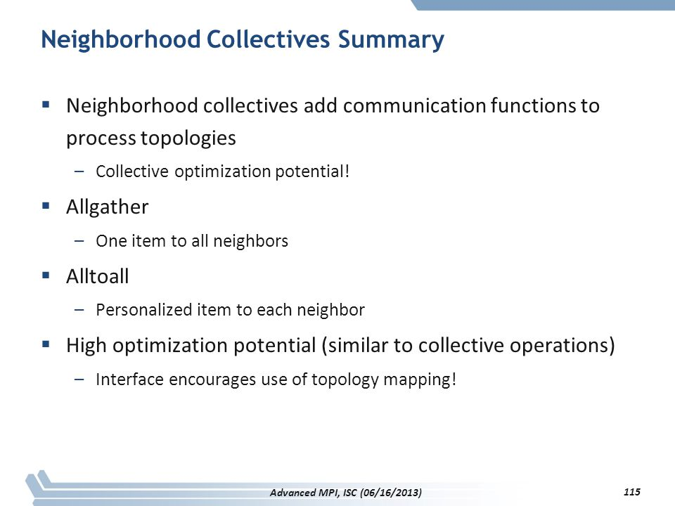 Neighborhood Collectives Summary  Neighborhood collectives add communication functions to process topologies –Collective optimization potential!  Al