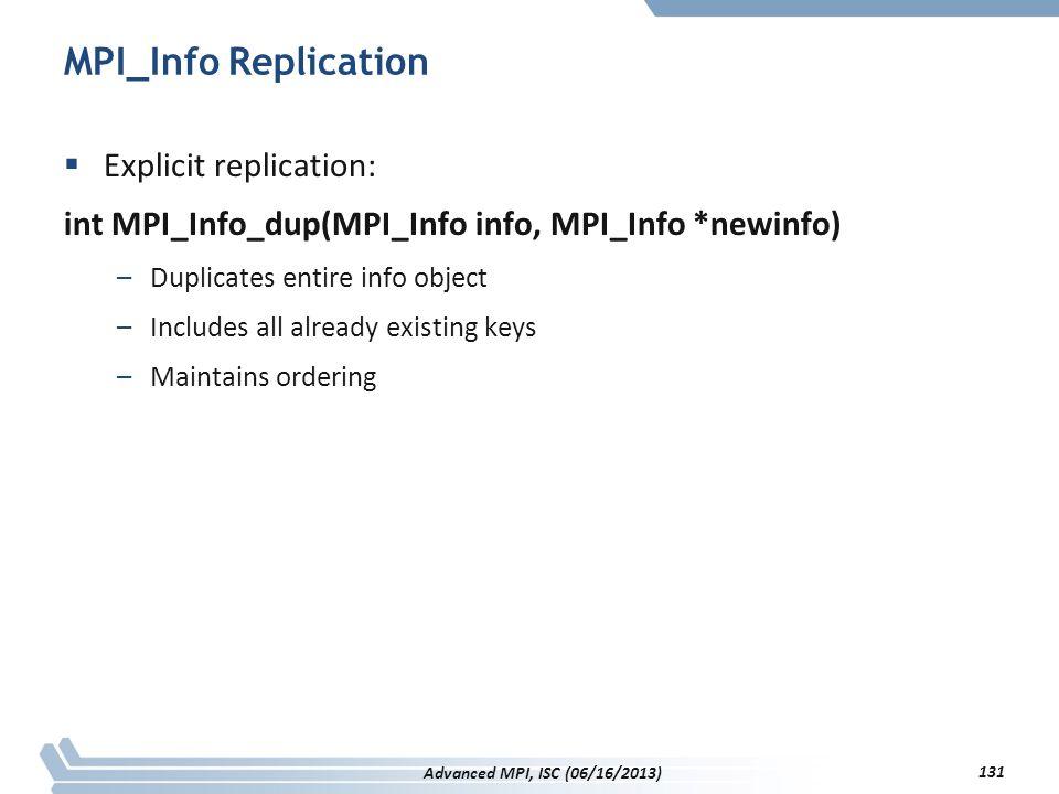 MPI_Info Replication  Explicit replication: int MPI_Info_dup(MPI_Info info, MPI_Info *newinfo) –Duplicates entire info object –Includes all already e
