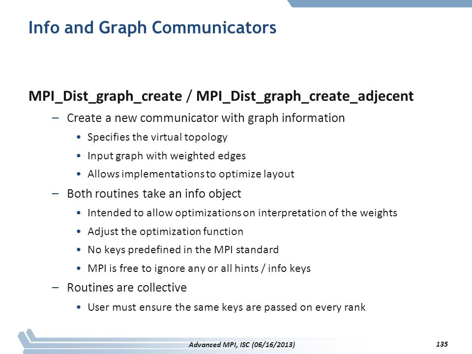 Info and Graph Communicators MPI_Dist_graph_create / MPI_Dist_graph_create_adjecent –Create a new communicator with graph information Specifies the vi