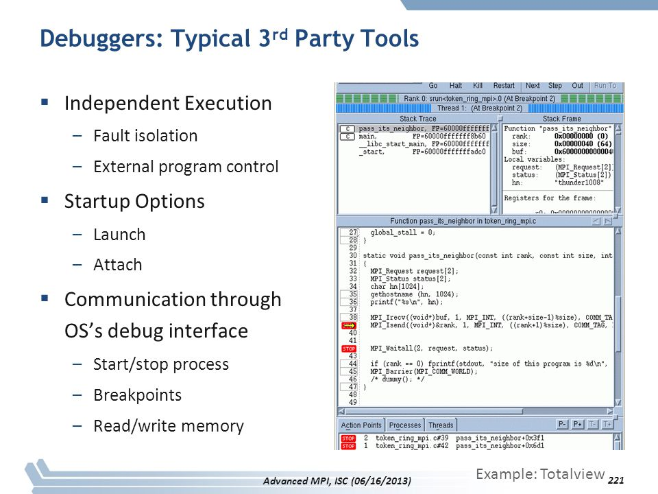Debuggers: Typical 3 rd Party Tools  Independent Execution –Fault isolation –External program control  Startup Options –Launch –Attach  Communicati