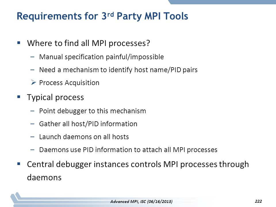 Requirements for 3 rd Party MPI Tools  Where to find all MPI processes? –Manual specification painful/impossible –Need a mechanism to identify host n