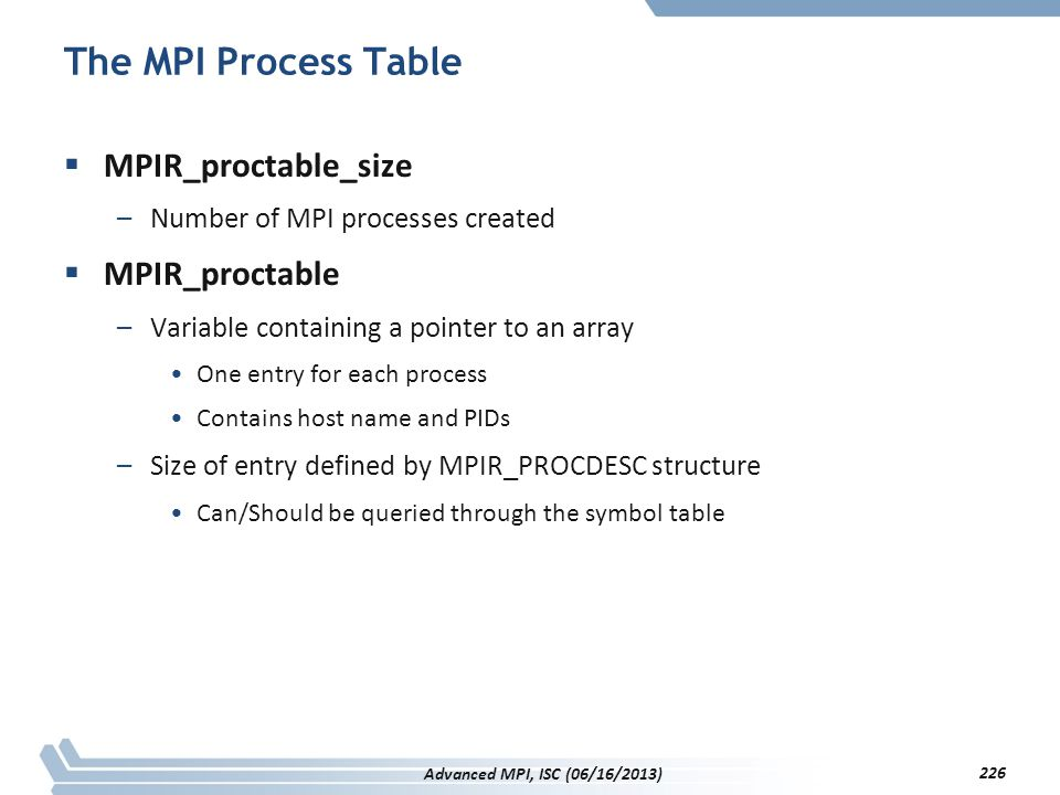 The MPI Process Table  MPIR_proctable_size –Number of MPI processes created  MPIR_proctable –Variable containing a pointer to an array One entry for