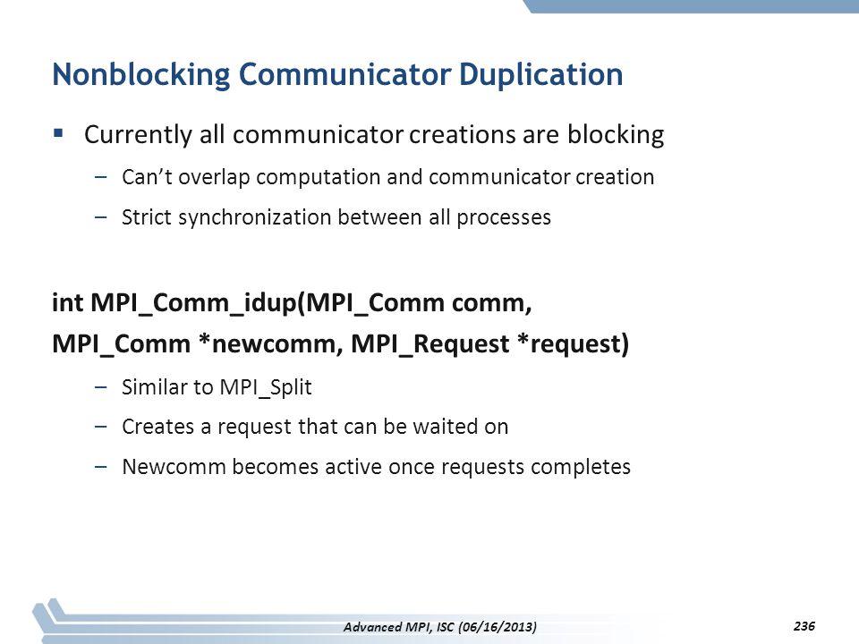Nonblocking Communicator Duplication  Currently all communicator creations are blocking –Can't overlap computation and communicator creation –Strict