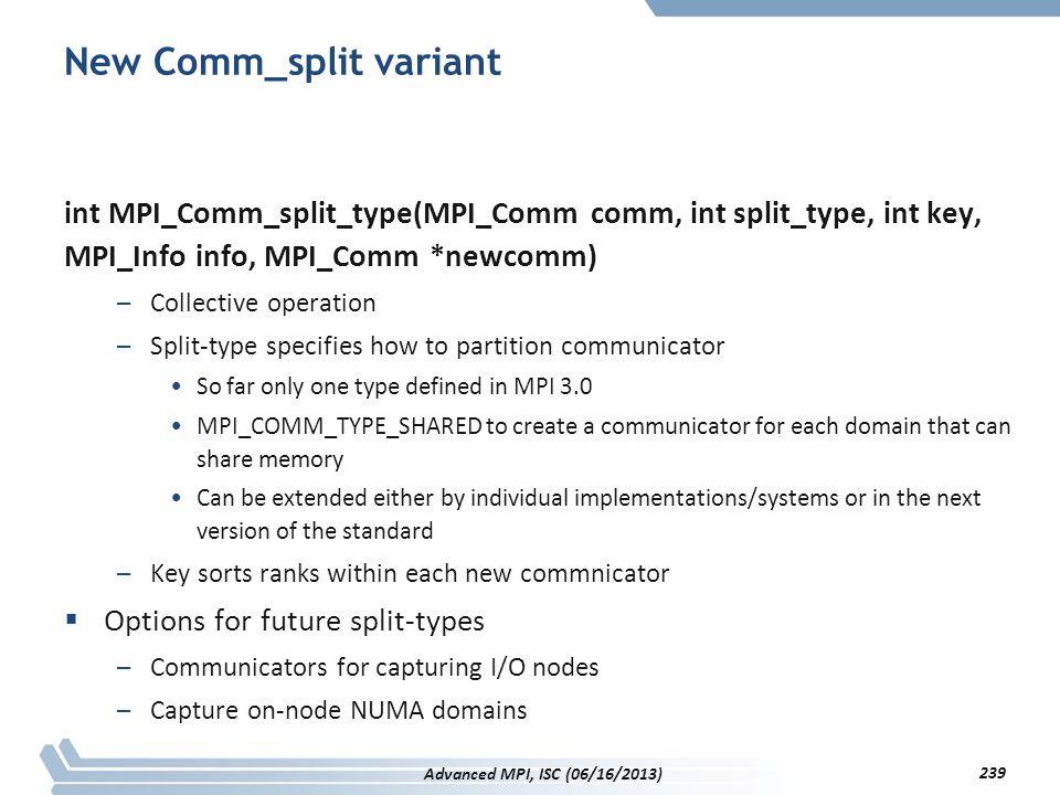 New Comm_split variant int MPI_Comm_split_type(MPI_Comm comm, int split_type, int key, MPI_Info info, MPI_Comm *newcomm) –Collective operation –Split-