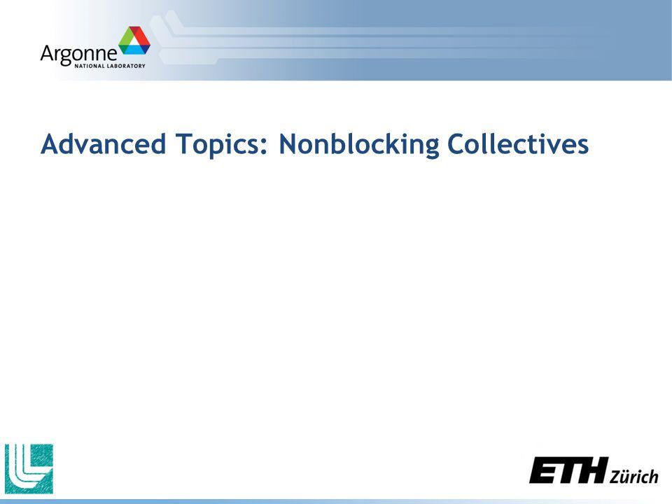 Advanced Topics: Nonblocking Collectives