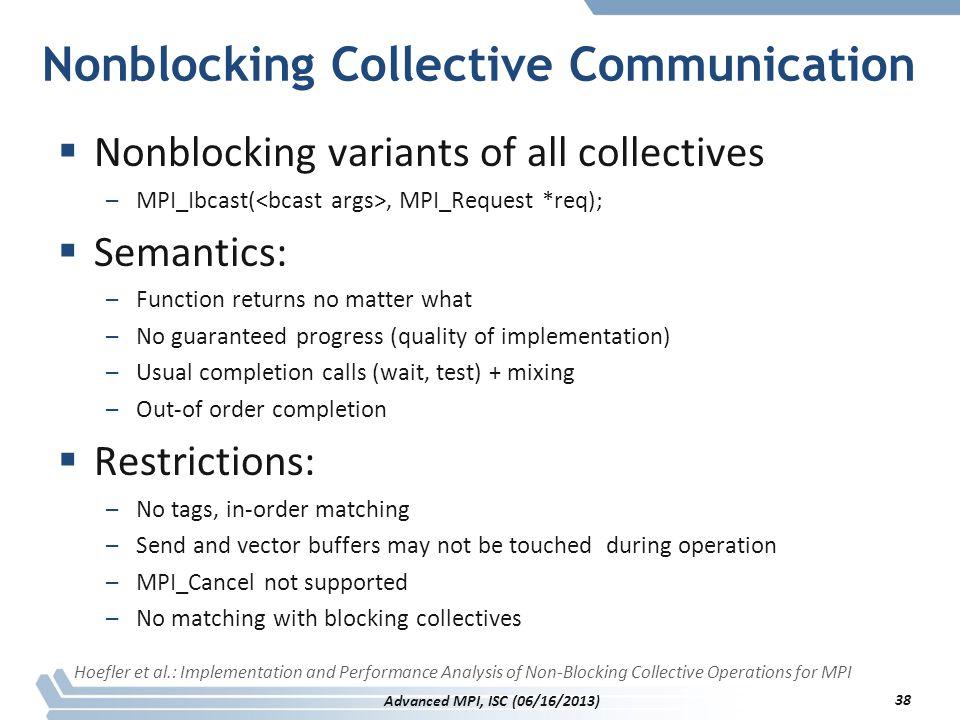 Nonblocking Collective Communication  Nonblocking variants of all collectives –MPI_Ibcast(, MPI_Request *req);  Semantics: –Function returns no matt
