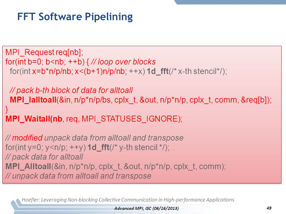 FFT Software Pipelining MPI_Request req[nb]; for(int b=0; b<nb; ++b) { // loop over blocks for(int x=b*n/p/nb; x<(b+1)n/p/nb; ++x) 1d_fft(/* x-th sten