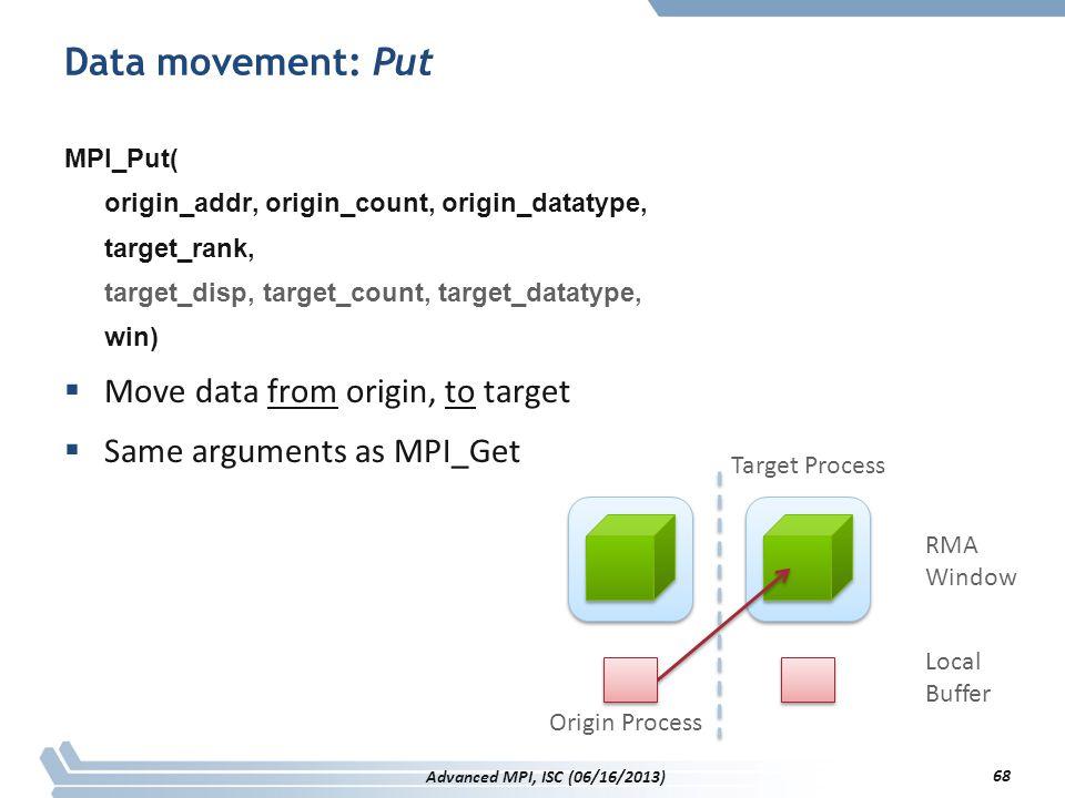 Data movement: Put MPI_Put( origin_addr, origin_count, origin_datatype, target_rank, target_disp, target_count, target_datatype, win)  Move data from