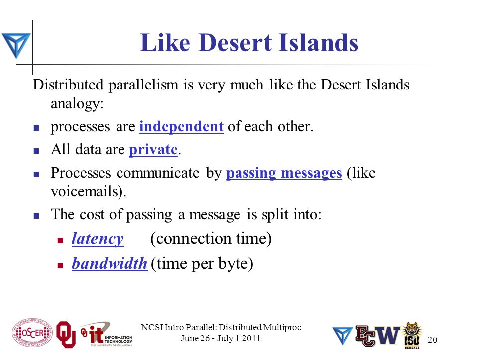 Like Desert Islands Distributed parallelism is very much like the Desert Islands analogy: processes are independent of each other. All data are privat
