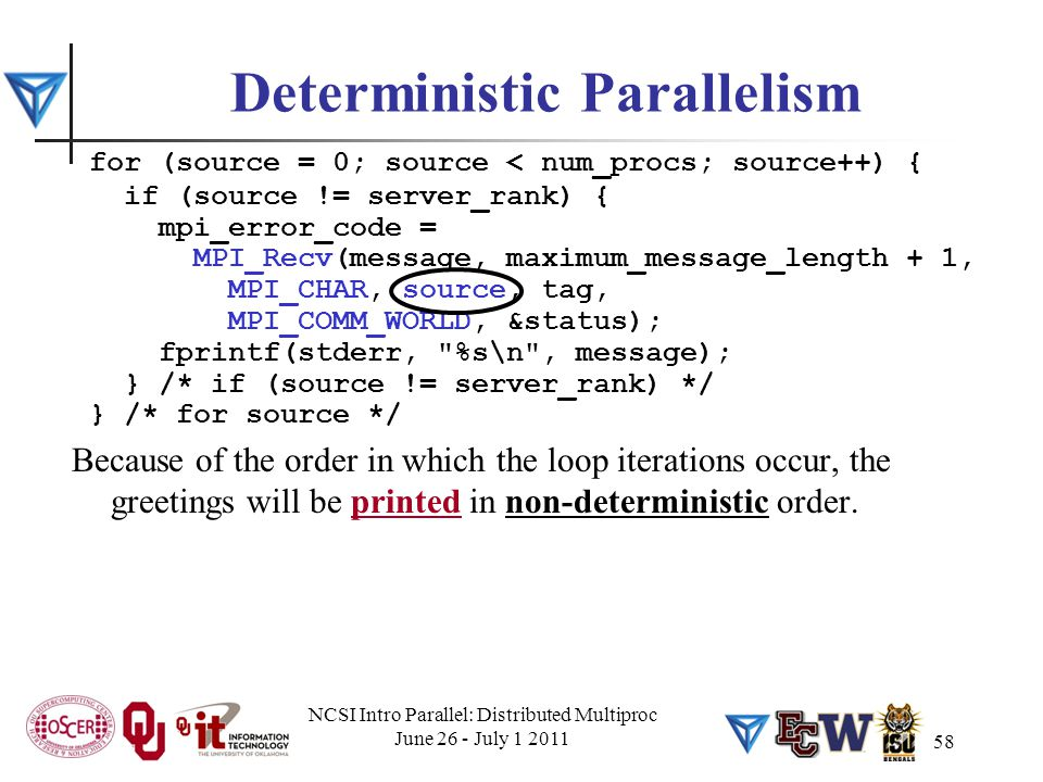 Deterministic Parallelism for (source = 0; source < num_procs; source++) { if (source != server_rank) { mpi_error_code = MPI_Recv(message, maximum_mes