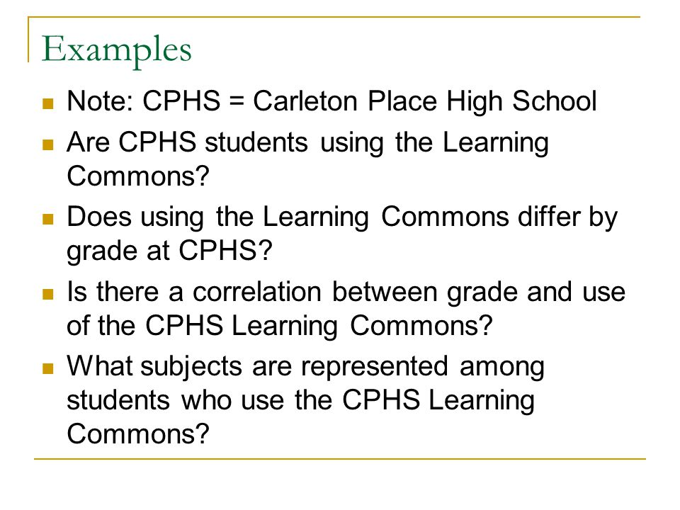 Examples Note: CPHS = Carleton Place High School Are CPHS students using the Learning Commons.