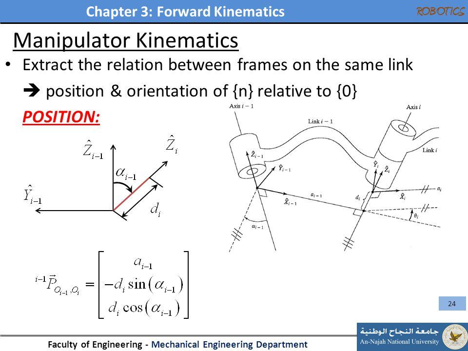 Chapter 3: Forward Kinematics Faculty of Engineering - Mechanical Engineering Department ROBOTICS Manipulator Kinematics Extract the relation between