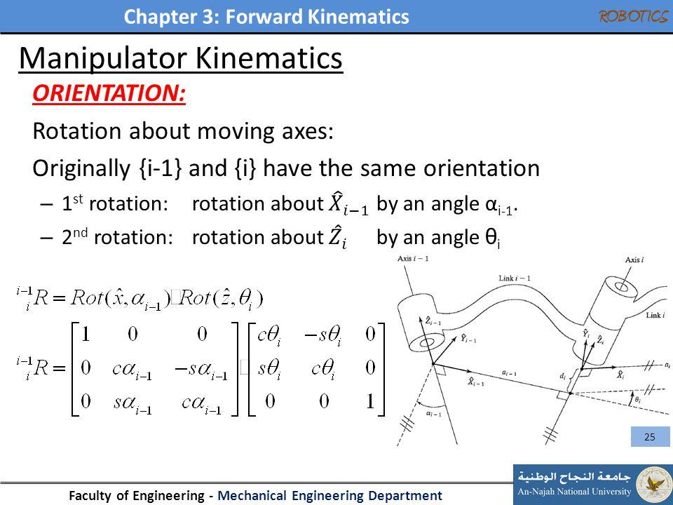 Chapter 3: Forward Kinematics Faculty of Engineering - Mechanical Engineering Department ROBOTICS Manipulator Kinematics 25