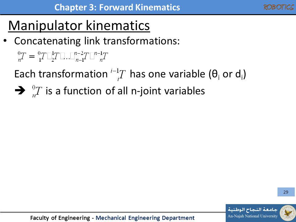 Chapter 3: Forward Kinematics Faculty of Engineering - Mechanical Engineering Department ROBOTICS Manipulator kinematics Concatenating link transforma