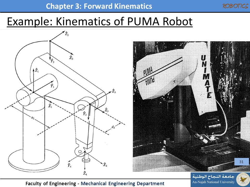Chapter 3: Forward Kinematics Faculty of Engineering - Mechanical Engineering Department ROBOTICS Example: Kinematics of PUMA Robot 31