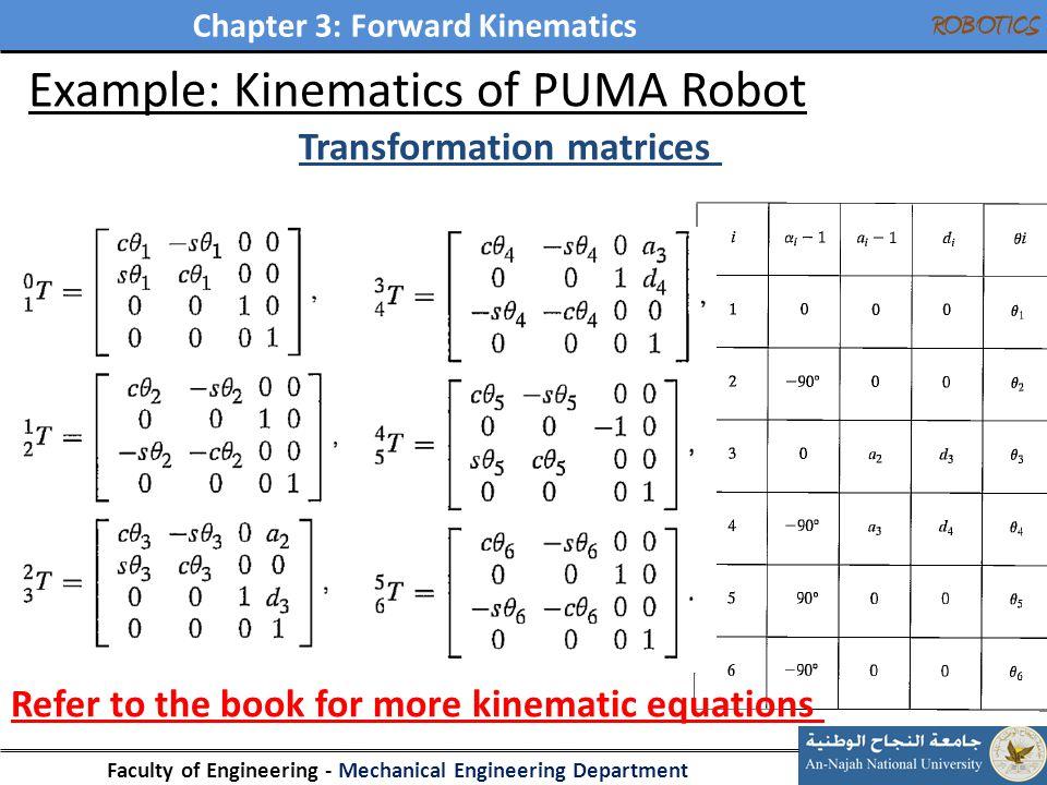 Chapter 3: Forward Kinematics Faculty of Engineering - Mechanical Engineering Department ROBOTICS 34 Example: Kinematics of PUMA Robot Transformation