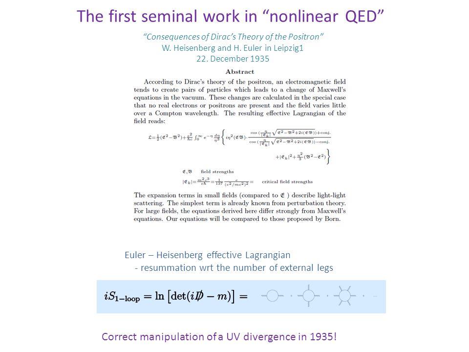 + Lorentz & Gauge symmetries  n ≠ 1 in general + Oriented response of the Dirac sea  Vacuum birefringence How about the vacuum with external magnetic fields .