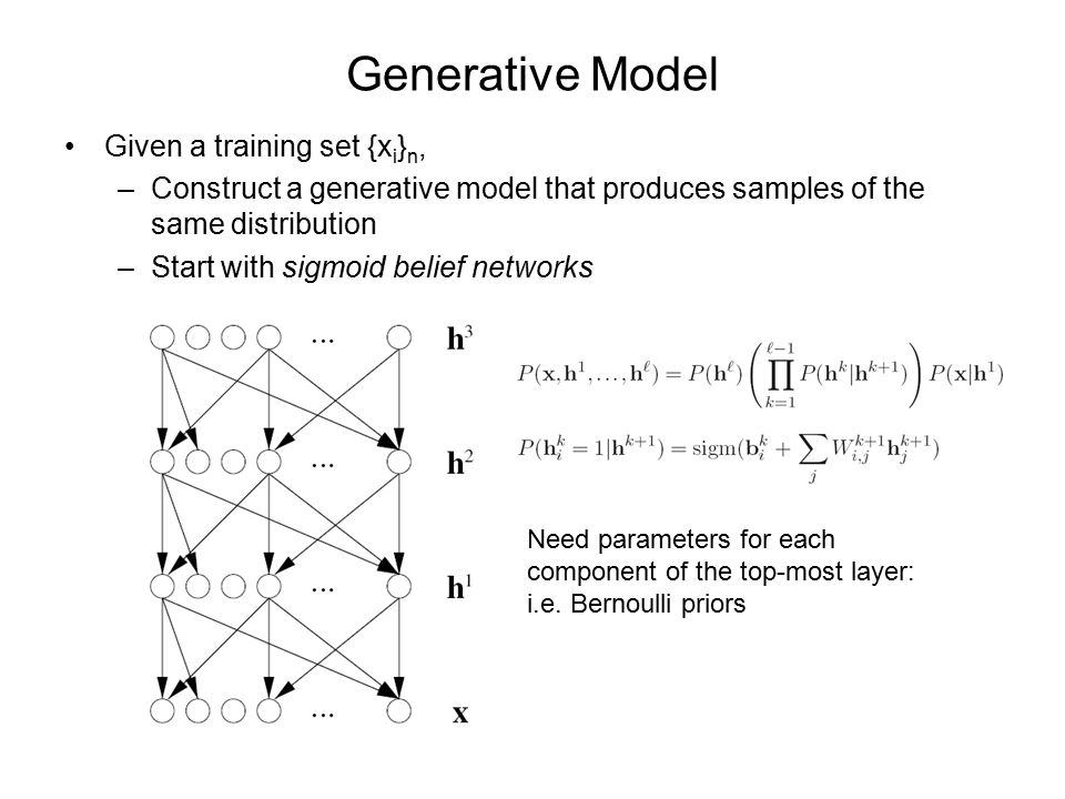 Generative Model Given a training set {x i } n, –Construct a generative model that produces samples of the same distribution –Start with sigmoid belief networks Need parameters for each component of the top-most layer: i.e.