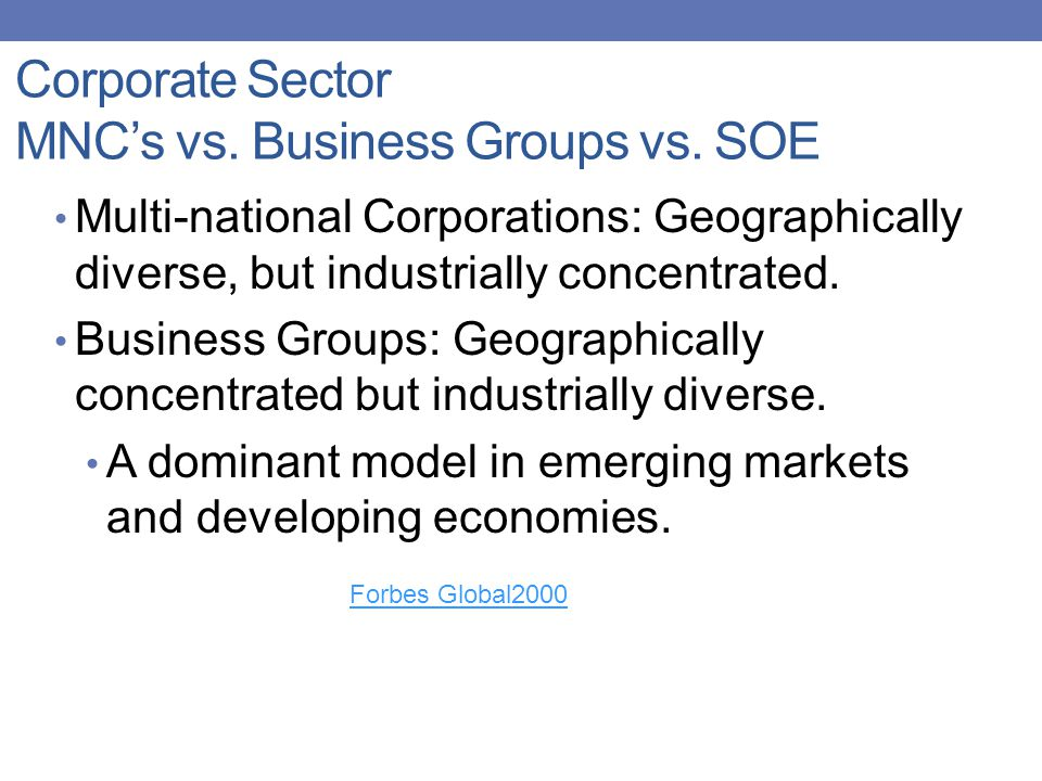Corporate Sector MNC's vs. Business Groups vs.