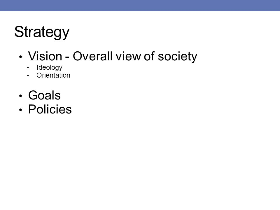 Strategy Vision - Overall view of society Ideology Orientation Goals Policies