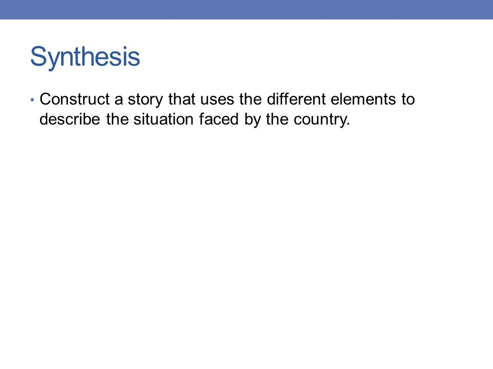 Synthesis Construct a story that uses the different elements to describe the situation faced by the country.