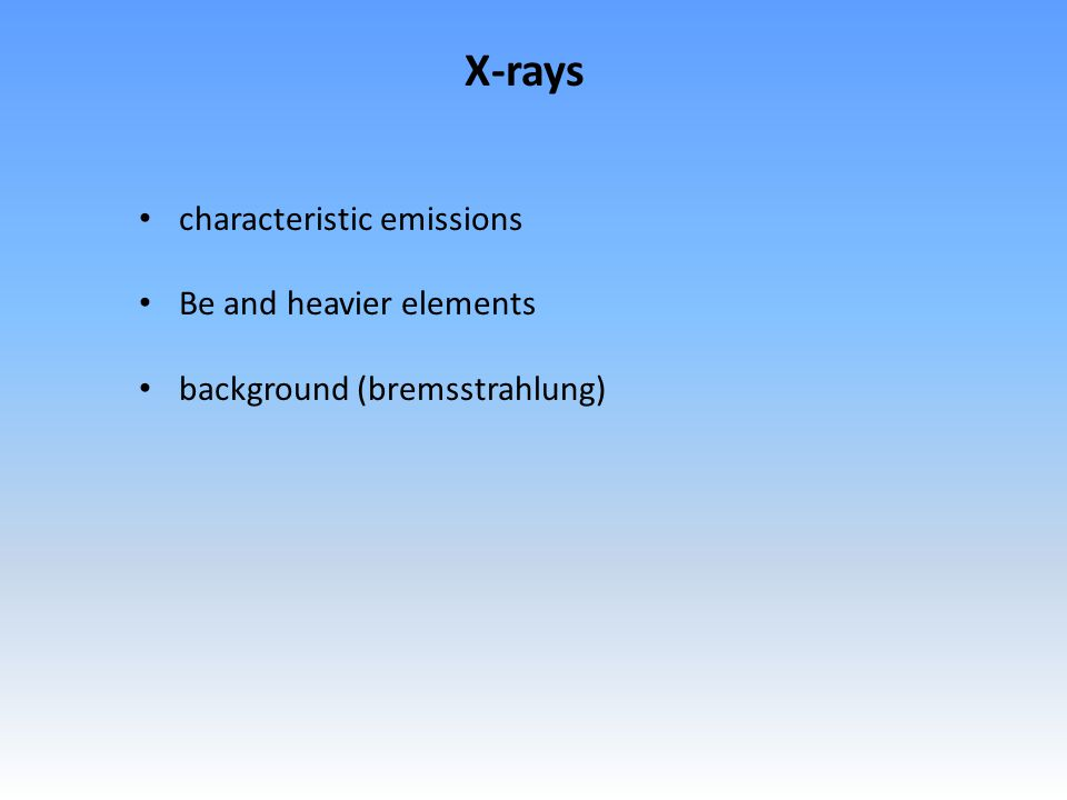 characteristic emissions Be and heavier elements background (bremsstrahlung) X-rays