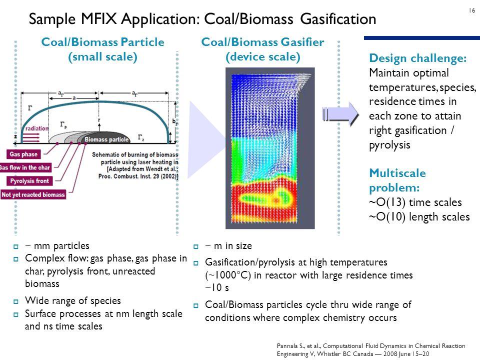 16 Sample MFIX Application: Coal/Biomass Gasification Pannala S., et al., Computational Fluid Dynamics in Chemical Reaction Engineering V, Whistler BC