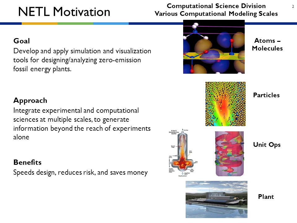 2 NETL Motivation Goal Develop and apply simulation and visualization tools for designing/analyzing zero-emission fossil energy plants. Integrate expe