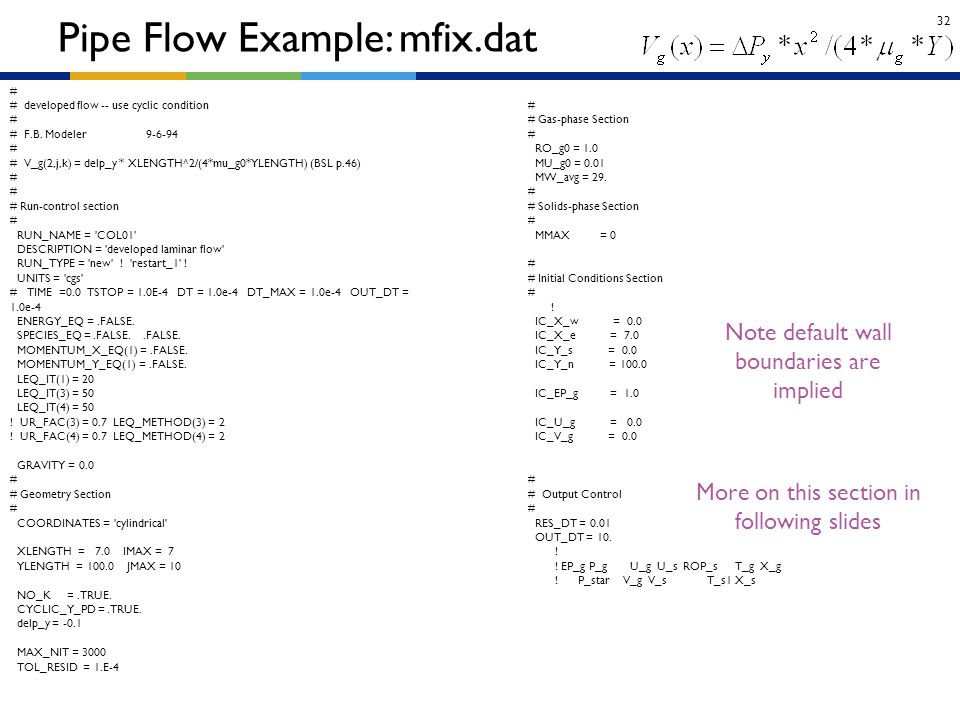 32 Pipe Flow Example: mfix.dat More on this section in following slides Note default wall boundaries are implied # # developed flow -- use cyclic cond