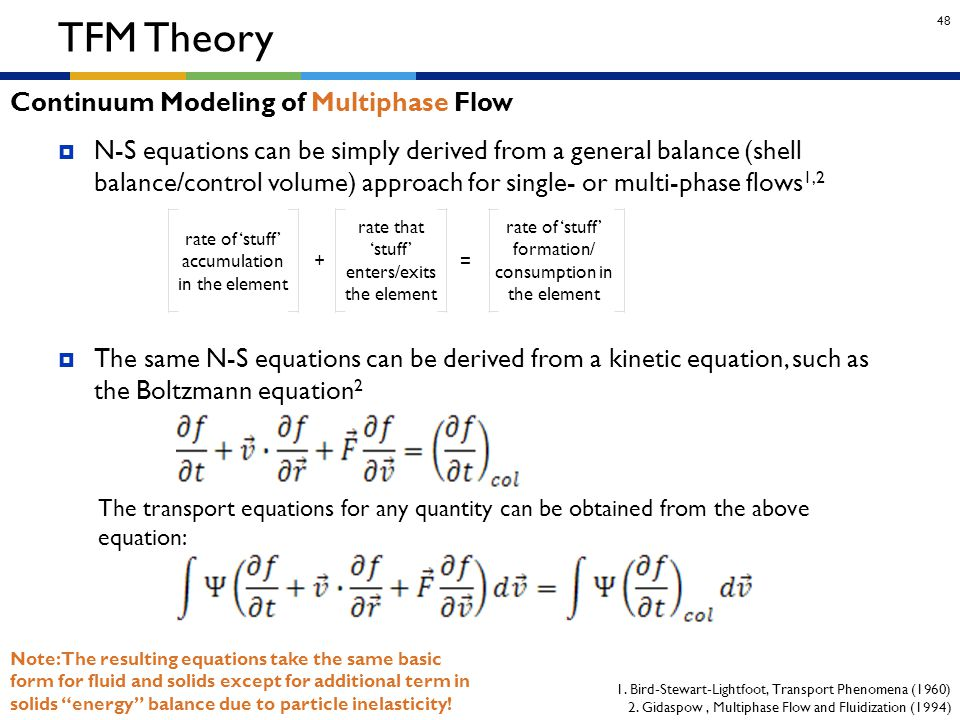 48  N-S equations can be simply derived from a general balance (shell balance/control volume) approach for single- or multi-phase flows 1,2  The sam