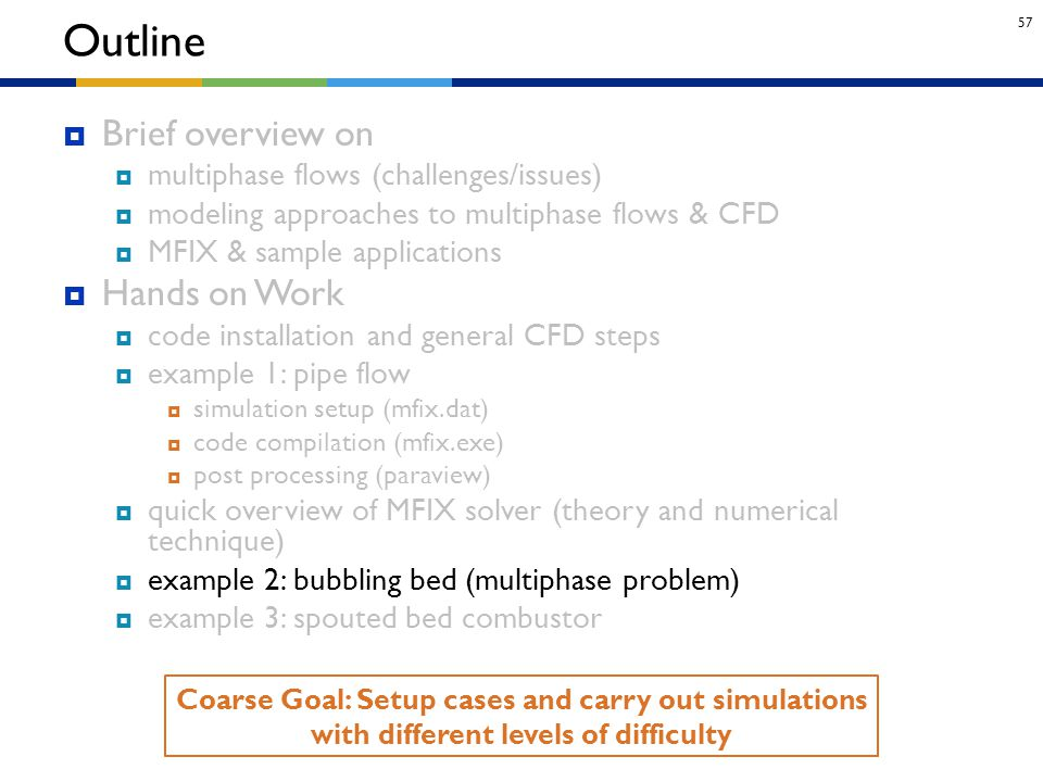 57 Outline Coarse Goal: Setup cases and carry out simulations with different levels of difficulty  Brief overview on  multiphase flows (challenges/i