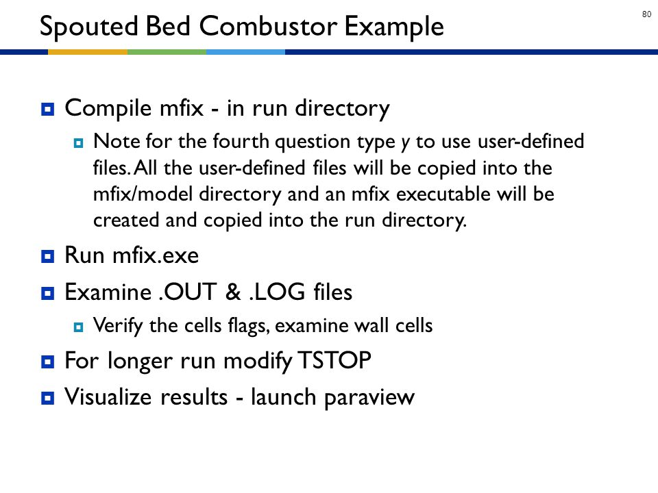80  Compile mfix - in run directory  Note for the fourth question type y to use user-defined files. All the user-defined files will be copied into t